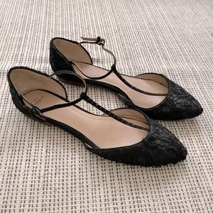 ZARA black embroidered pointed toe with ankle strap ballet flats size 7